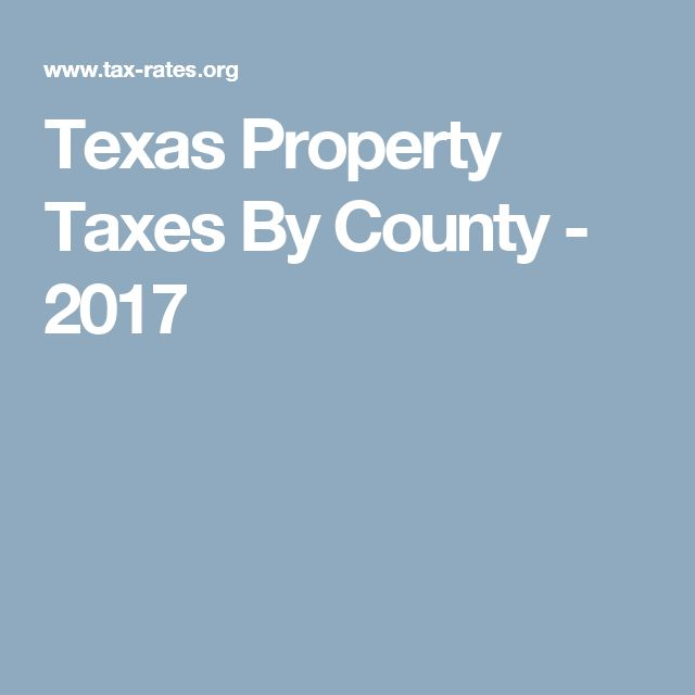 Texas Property Taxes By County - 2017