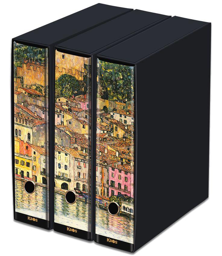 KAOS Lever Arch Files 2ring Binders with slipcase, Spine 8 cm, 3 pcs Set  - MALCESINE, GUSTAV KLIMT - 3 pcs Set Dimensions: 26.8x35x29 cm