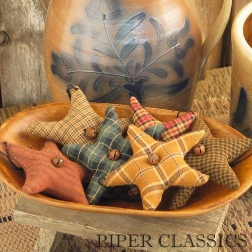 """Set of 6 Star Ornaments in assorted primitive fabrics adorned with a rusty tin bell sewn on each side; string for hanging.  3 1/2"""" #prim xmas stars #rustic christmas decor"""