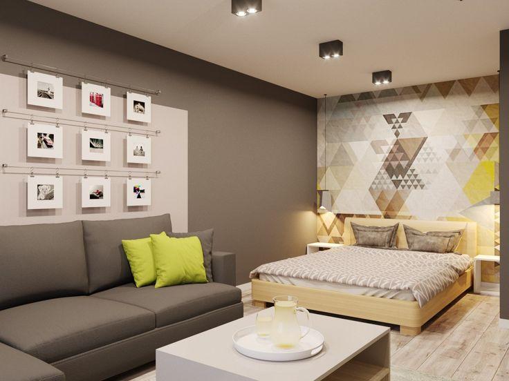 Современный стиль, оформление гостиной, интерьер однокомнатной квартиры, интерьер мягкой зоны, спальное место