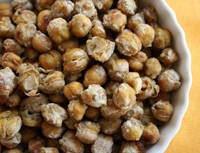 Wasabi roasted chickpeas. Want to try the same recipe with ginger, and make half ginger and half wasabi chickpeas. YUM!
