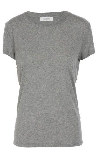 Женская серая хлопковая футболка прямого кроя с заклепками Valentino, сезон FW 16/17, арт. LB3MG02Z/2QJ купить в ЦУМ   Фото №1