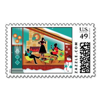 Mid Century Modern House Postage Stamps http://www.zazzle.com/retrochristmascard?rf=238481928796519839