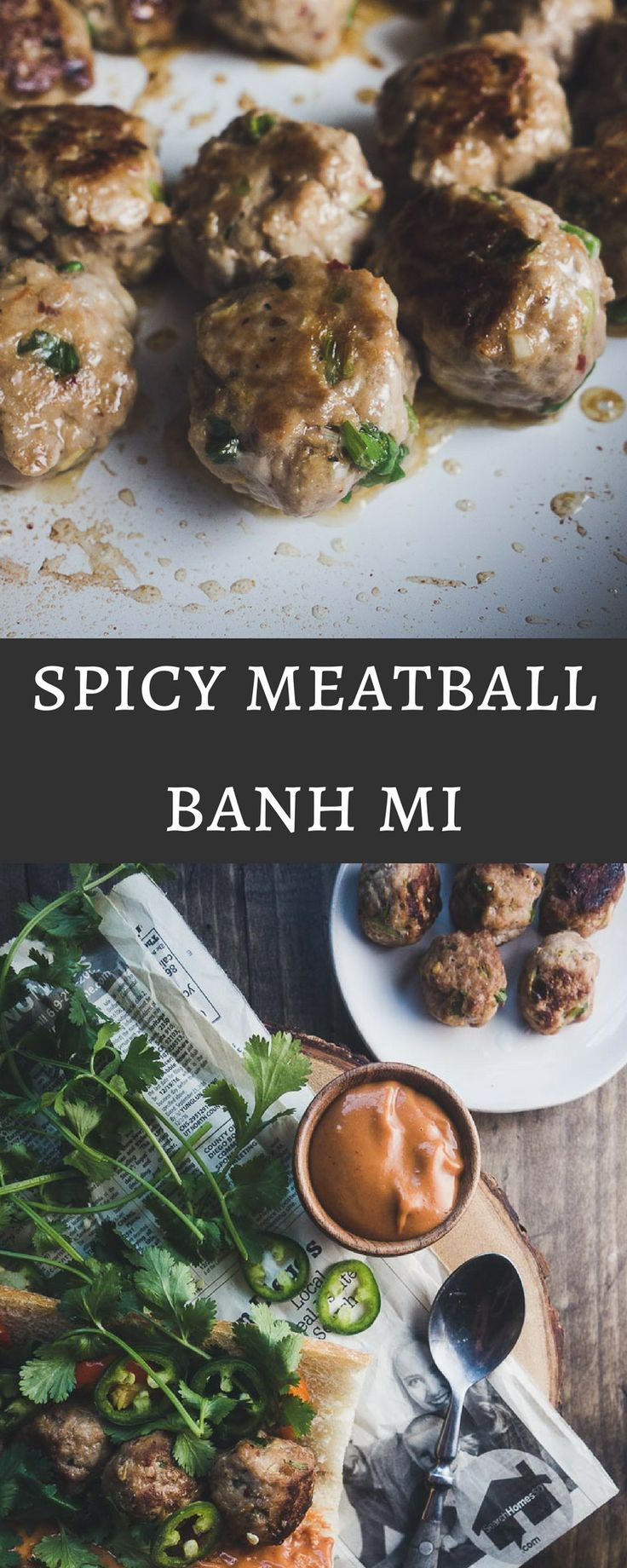 This spicy meatball banh mi takes less than 20 minutes to make and is served on a fresh chewy french baguette with sriracha hoisin mayonnaise...I love this sandwich!    vietnamese pork meatballs | banh mi | low carb banh mi meatballs | paleo meatballs | meatball banh mi | spicy hoisin mayonnaise | sriracha mayonnaise | vietnamese meatballs | vietnamese sandwich | banh mi meatballs | easy banh mi recipe via @Went Here 8 This