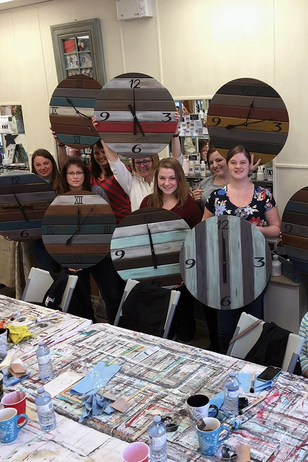 This painting class makes large wall clocks boards and clock movements that power longer clock hands.  This is a super fun project for a group or DIY Clock at home.