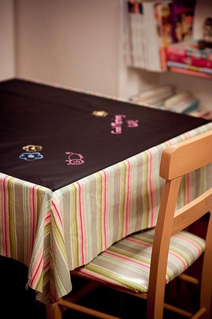 chalkboard fabric tablecloth