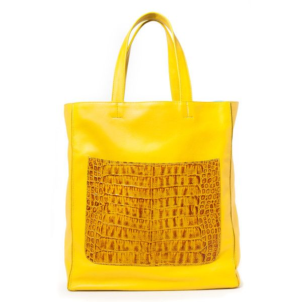 Marigold Yellow 'Stuart' Carryall Tote (23,530 MXN) ❤ liked on Polyvore featuring bags, handbags, tote bags, travel tote, yellow handbags, handbags totes, carryall tote and yellow tote bag