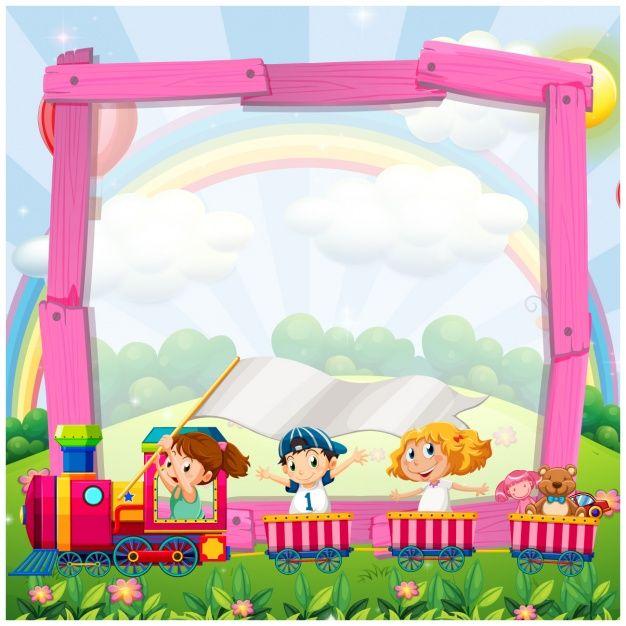 Frame dos desenhos animados com um trem Vetor Premium