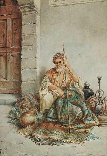 Arab carpet seller. Art by Vittorio Rappini born 1877 .. watercolor.