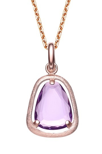 purple cz amethyst drop pendant
