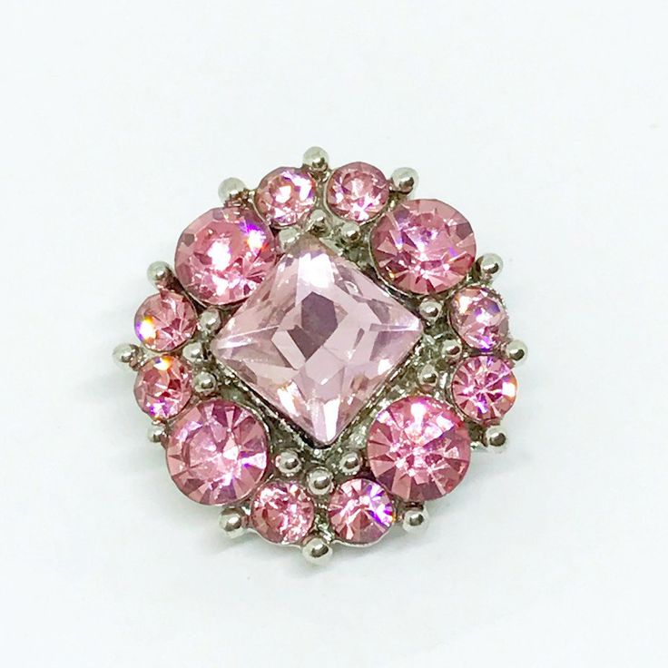 Rhinestone Pink Square Snap Button 20mm