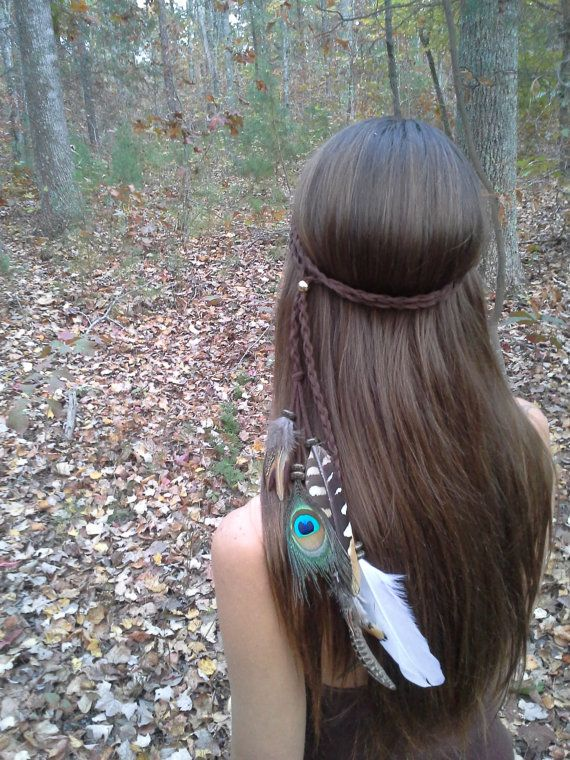 Huntress, Feather Headband, Bohemian headband, Native American, braided headband, Indian Headband, Peacock headband, hippie headband on Etsy, $33.99