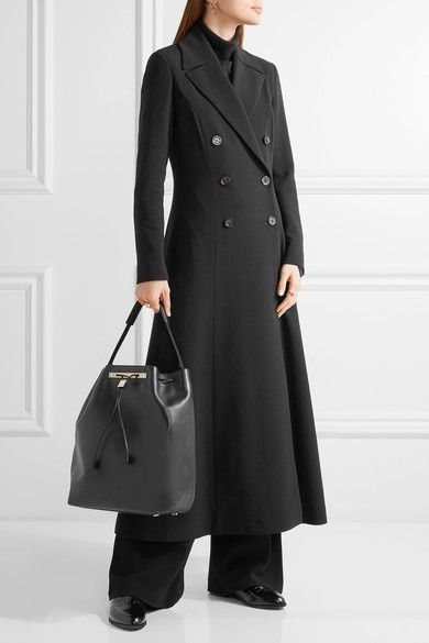 The Row - Cameron Double-breasted Stretch-wool Coat - Black - US