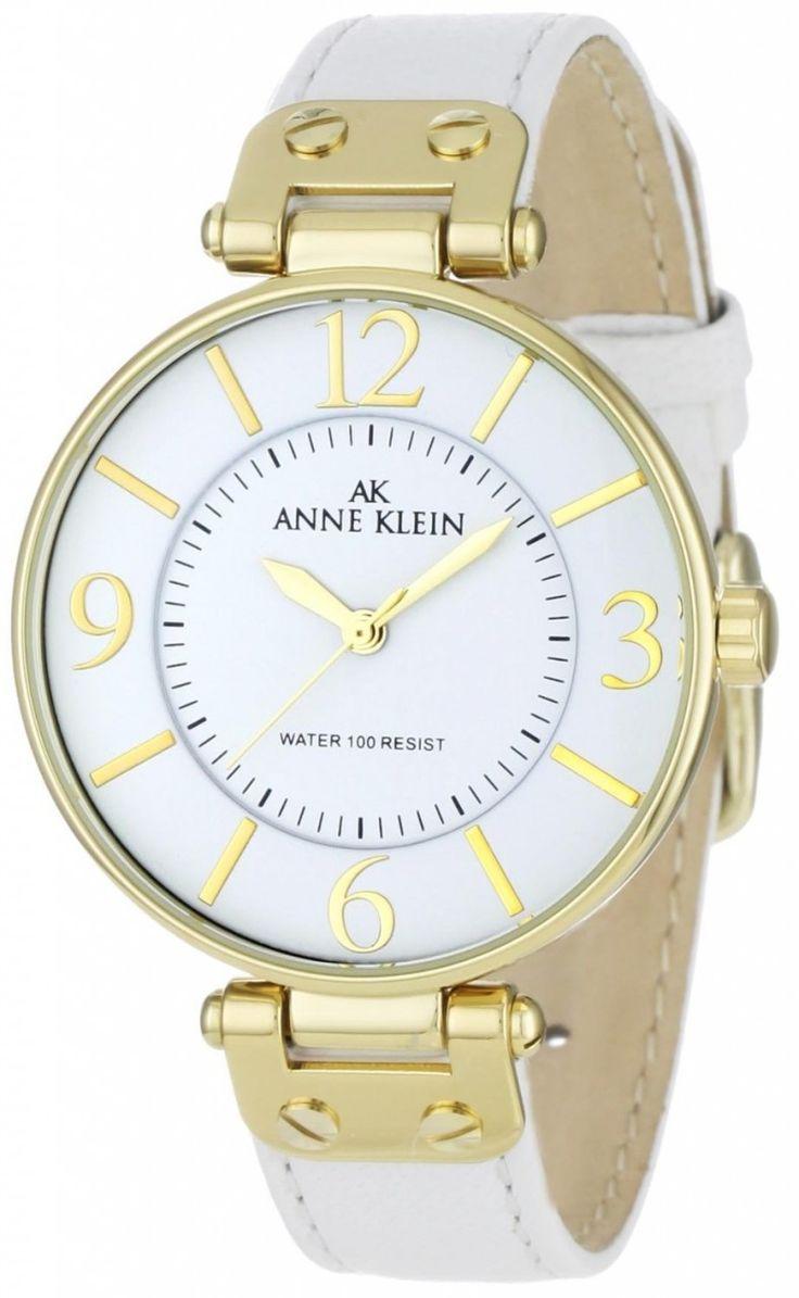 Anne Klein Gold-Tone Round White Leather Strap 109168WTWT - Women's Watch - Watch Direct