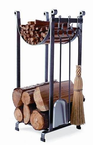 Sturdy and stylish log rack and fireplace tools, handcrafted out of quarter-inch thick steel.