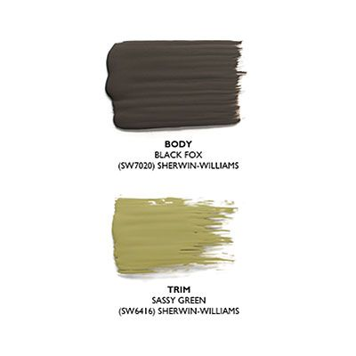 """""""This paint palette is reminiscent of Scouts at summer camp—dark uniforms all alike with bright green scarves tied at the collars.""""  –Bobby McAlpine, McAlpine Tankersley Architecture, Montgomery, Alabama    Paint Palette  Body: Black Fox (SW7020) by Sherwin-Williams; sherwin-williams.com.  Trim: Sassy Green (SW6416) by Sherwin-Williams; sherwin-williams.com."""