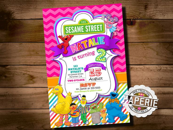 SESAME STREET BIRTHDAY Invitation, Elmo, Cookie Monster, Big Bird, Chevron Invitation, Girl Rainbow Birthday Invite, Pink Frosting Paperie by PinkFrostingPaperie on Etsy https://www.etsy.com/listing/239794795/sesame-street-birthday-invitation-elmo
