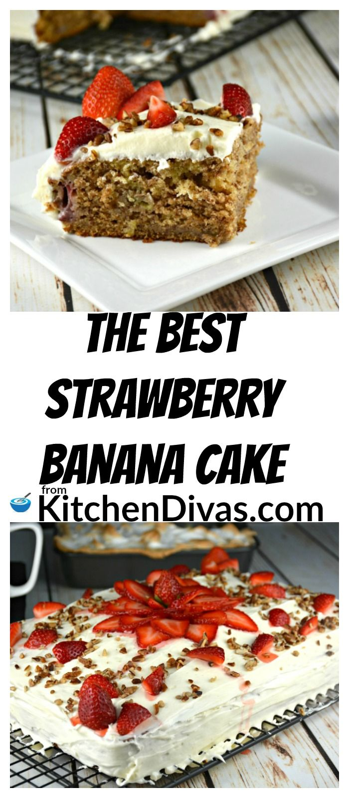This recipe for The Best Strawberry Banana Cake is a definite keeper! Perfect for strawberry season, and truth be told, any time of the year. The cake comes out super moist every time. No one needs dry cake in their lives! The buttermilk really helps make this cake the perfect texture. I also just love the flavor combination of strawberries and bananas together with that hint of cinnamon! It really makes such a difference!