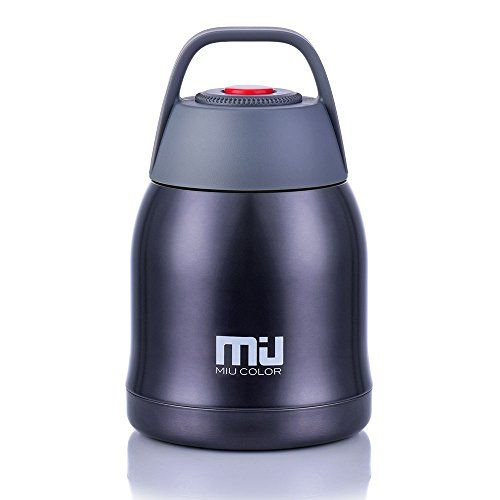 MIU COLOR Vacuum Insulated Stainless Steel Cooking Food Jar Braised Beaker, 20 Ounce Snack Dessert Ice Cream Storage Container Thermos Flask, Matte Black. For product & price info go to:  https://all4hiking.com/products/miu-color-vacuum-insulated-stainless-steel-cooking-food-jar-braised-beaker-20-ounce-snack-dessert-ice-cream-storage-container-thermos-flask-matte-black/