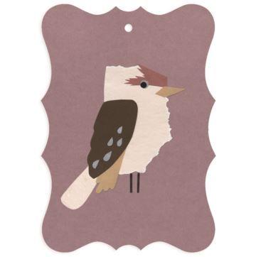 Gift tag Kookaburra - Bobangles #SundayPaper #Australia #gift #tag #kookaburra