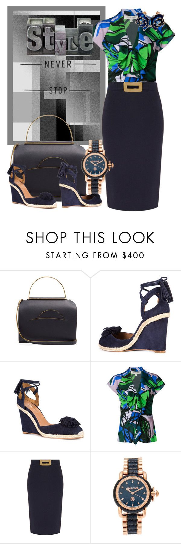 """Time is not waiting for you"" by m-kints ❤ liked on Polyvore featuring Roksanda, Aquazzura, Carolina Herrera, Goat, Roberto Cavalli and MyPowerLook"
