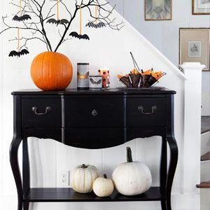 Foyer....... So darling!: Halloween Decorations, Bats, Halloween Trees, Fall Halloween, Halloweendecor, Halloween Fal, White Pumpkin, Branches, Halloween Ideas