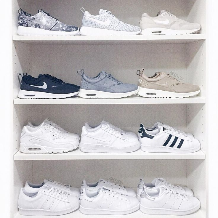 """my sneaker collection!  nike or adidas? this is probably my most highly requested photo, i moved my heels off my shelf and took all my sneakers out of…"""