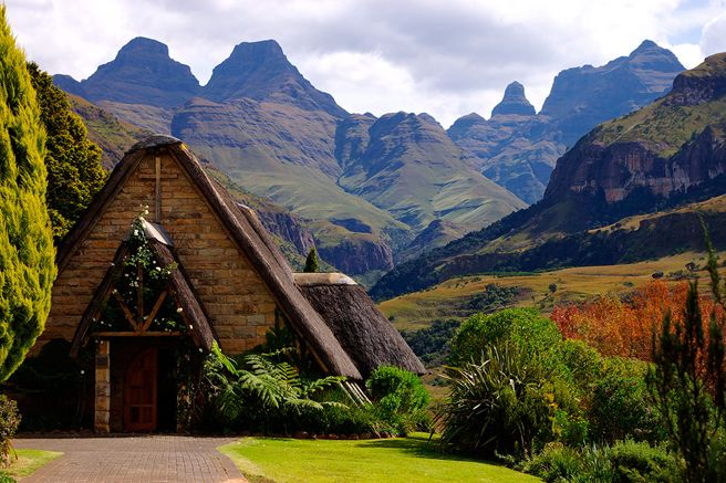 Cathedral Peak's enchanting farmhouse turned quaint stone chapel (Drakensberg, South Africa)