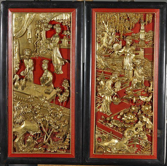 Chinese carved lacquered wood panels on