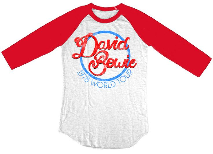 Rocker Rags - David Bowie Vintage Concert T-shirt - David Bowie 1978 World Tour. Baseball Jersey Shirt, $34.50 (http://www.rockerrags.com/david-bowie-vintage-concert-t-shirt-david-bowie-1978-world-tour-baseball-jersey-shirt/)
