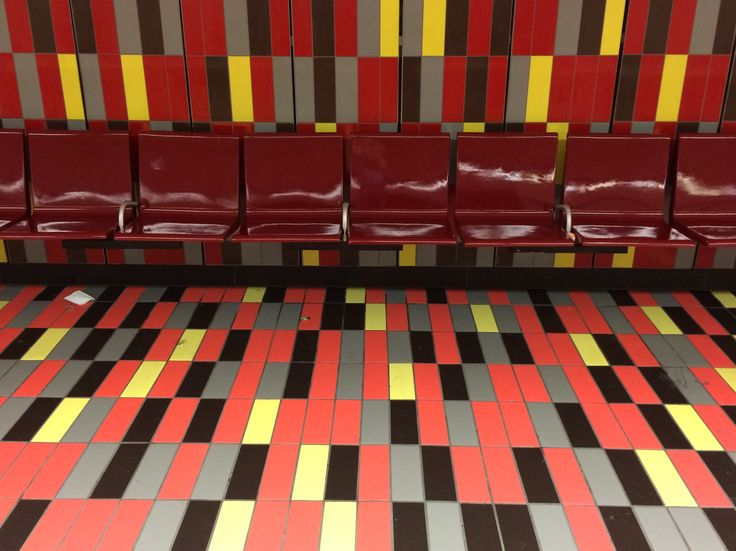 The Guy-Concordia station platform in the Montréal Metro. #montreal #quebec #canada #travel #art #mosaic #metro #stm