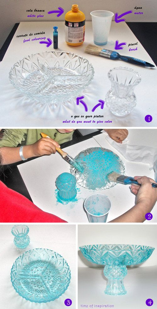 GLUE MIXED WITH FOOD COLORING. 'Paint' glasses according to color motif of party. Washable.