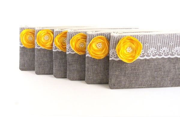 Bridesmaids Gifts Custom Purses Bags- Wedding Clutches Bridesmaids Clutches- 5 GREY Clutches with YELLOW Brooch Flower. $148.50, via Etsy.