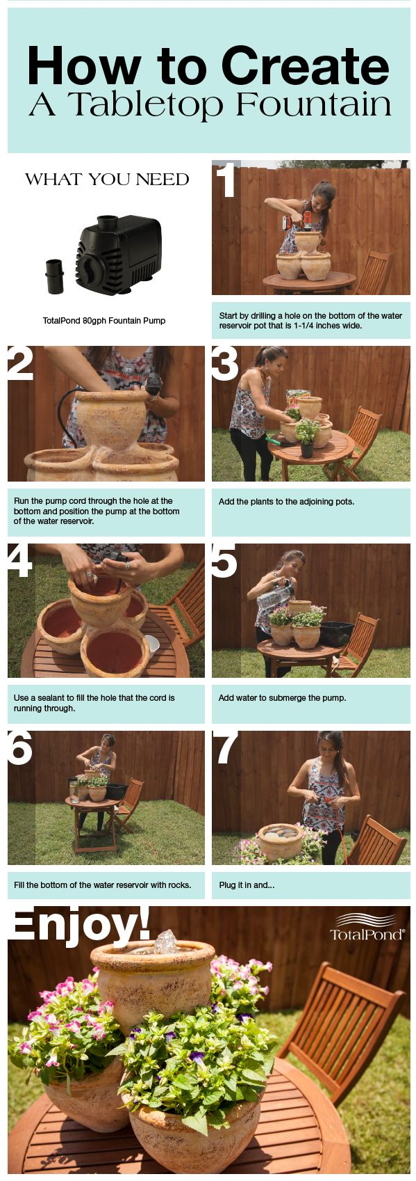 Add some charm to your space with a tabletop fountain! For this project, we converted a rustic planter into a dazzling water feature with plants and flowers. #diy #fountain #TotalPond #howto