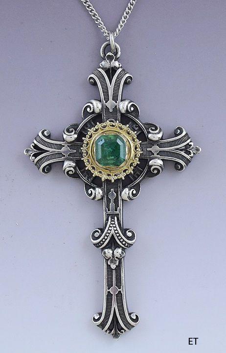 Stunning Victorian Sterling Silver 14k Gold & Emerald Cross Pendant