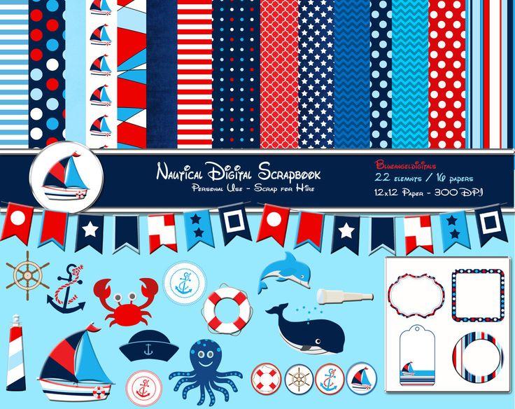 Nautical invitation Clip Art | Nautical clipart Nautical Digital Scrapbook Kit, Red White Blue ...