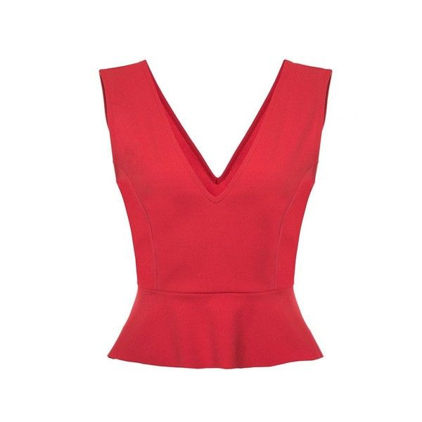 Red Peplum V Neck Top ($22) ❤ liked on Polyvore featuring tops, red peplum top, v-neck tops, v neck tops, peplum tops and red v neck top
