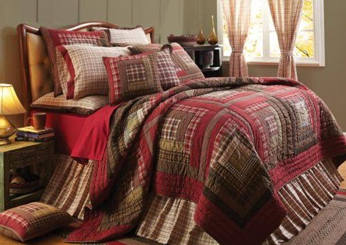 Tacoma Log Cabin Block Queen Quilt in Red, Cream, Browns and Green - 3 Piece Set Olivia's Heartland http://www.amazon.com/dp/B00JW4SZF2/ref=cm_sw_r_pi_dp_FTWQtb1GT4TSEAE9