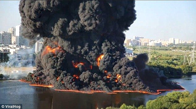 The rupture of an underwater oil pipeline is believed to have caused the fireball, which e...