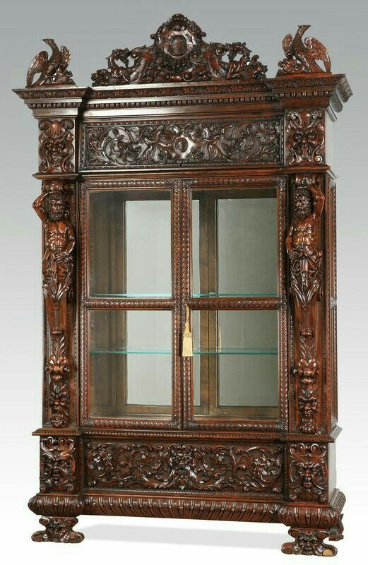 Renaissance Revival Cabinet, Late Century, The Arched Crest Carved With Au2026