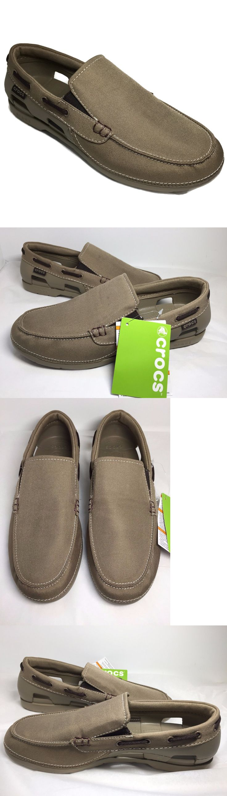 Casual 24087: Crocs Men S Beach Line Slip-On Boat Shoes Size 10 Mens Khaki -> BUY IT NOW ONLY: $65 on eBay!