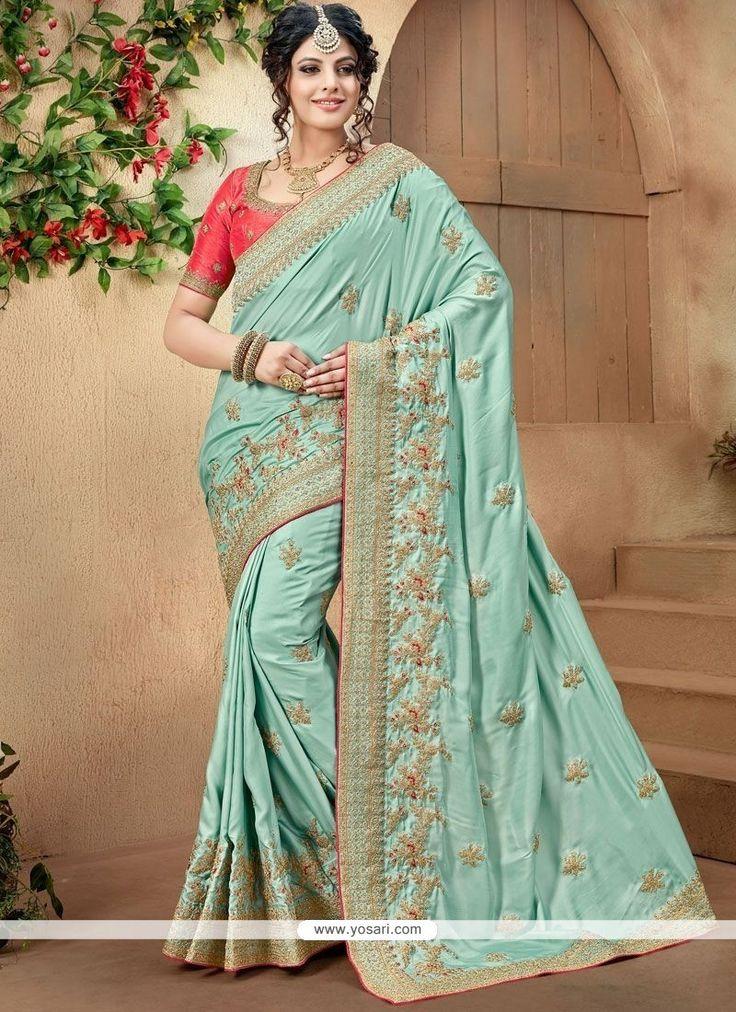 Blue Patch Border Work Crepe Silk Traditional Designer Saree