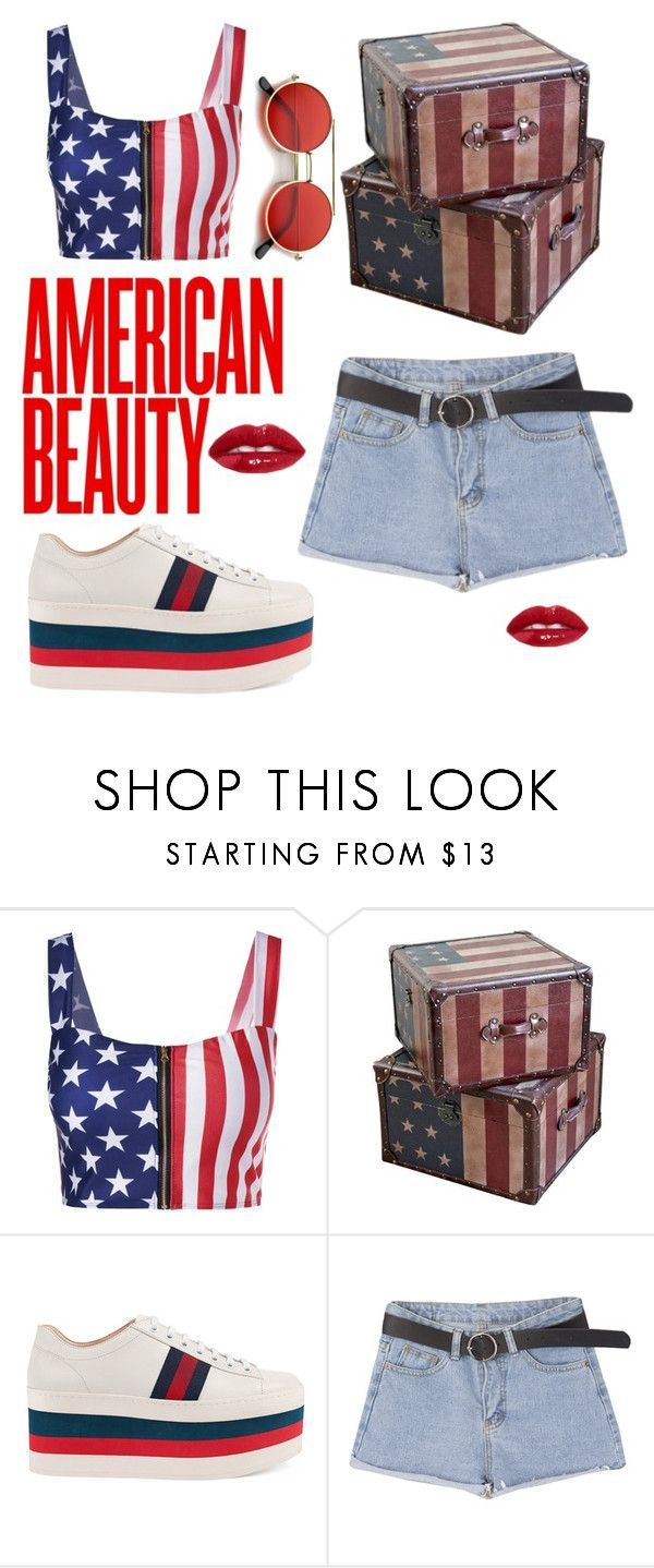 """""""#AmericanBeauty"""" by anjastrukar-1 ❤ liked on Polyvore featuring International Caravan and Gucci"""