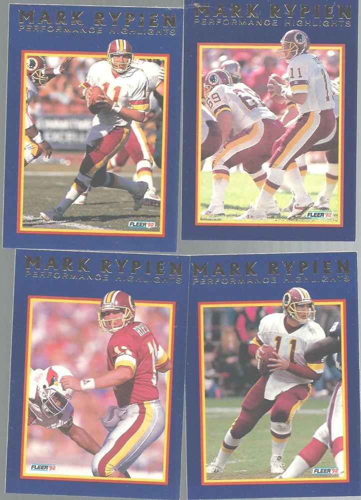 Mark Rypien Fleer Highlights Subset 1992 Football Cards Performance Lot of 4   #WashingtonRedskins