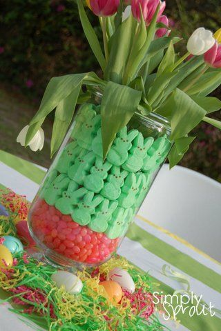 Easter Centerpeice: Fun Addition, Easter Centerpieces, Frugal Coupon, Easter Spr, Jelly Beans, Coupon Living, Peeps Easter, Easter Ideas, Barley Recipes