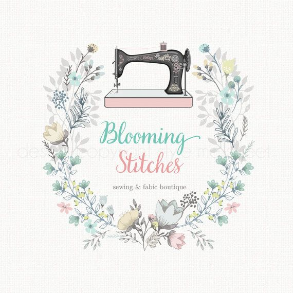 Vintage Sewing Machine Logo Floral Wreath by stylemesweetdesign