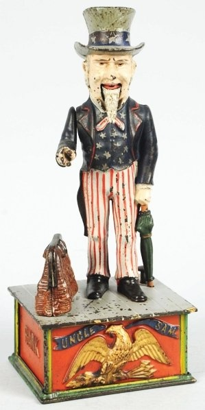 Cast Iron Uncle Sam Mechanical Bank