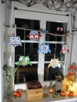 Fensterdeko Eulen - Die Bastelseite von Ines Felix