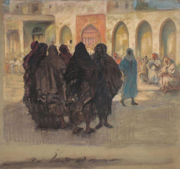 Scena uliczna w Kairuanie - Kazimierz Stabrowski