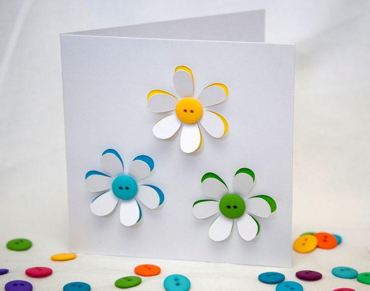 Button Flowers Card Handmade Greeting Card Paper by Nikelcards